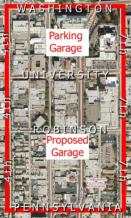 The proposed parking garage would be one block down from the one on Fifth and University.