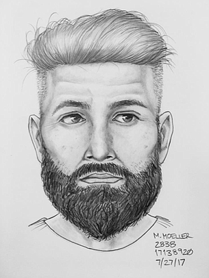 Sheriff's press release of incident included a sketch of the suspect who drove the truck.