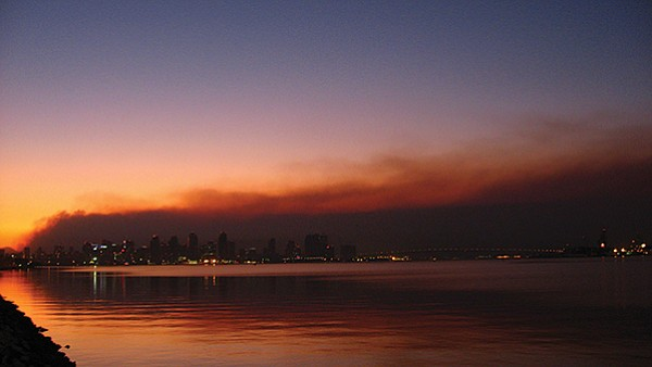 Smoke against the San Diego skyline at sunrise, October 23, 2007 (Witch Fire)