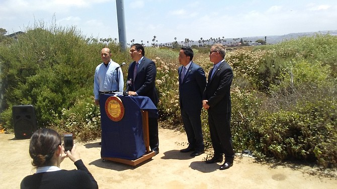 May 2017 press conference at the estuary with Oscar Romo, Ben Hueso, Todd Gloria, and I.B. councilman Mark West.