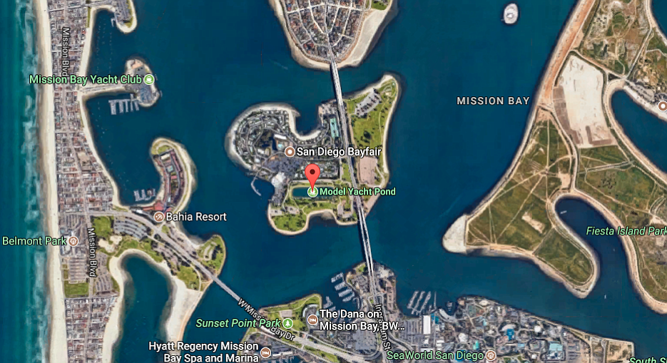 The Model Yacht Pond is on an island in Mission Bay.