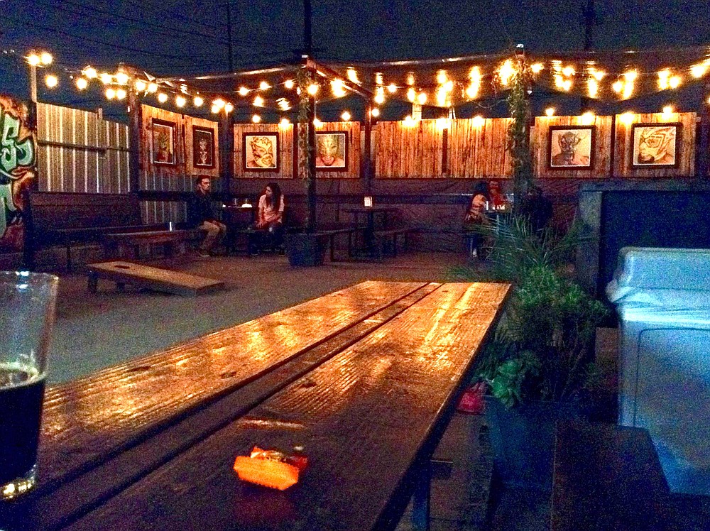 Beer garden behind Border X. Perfect party place.