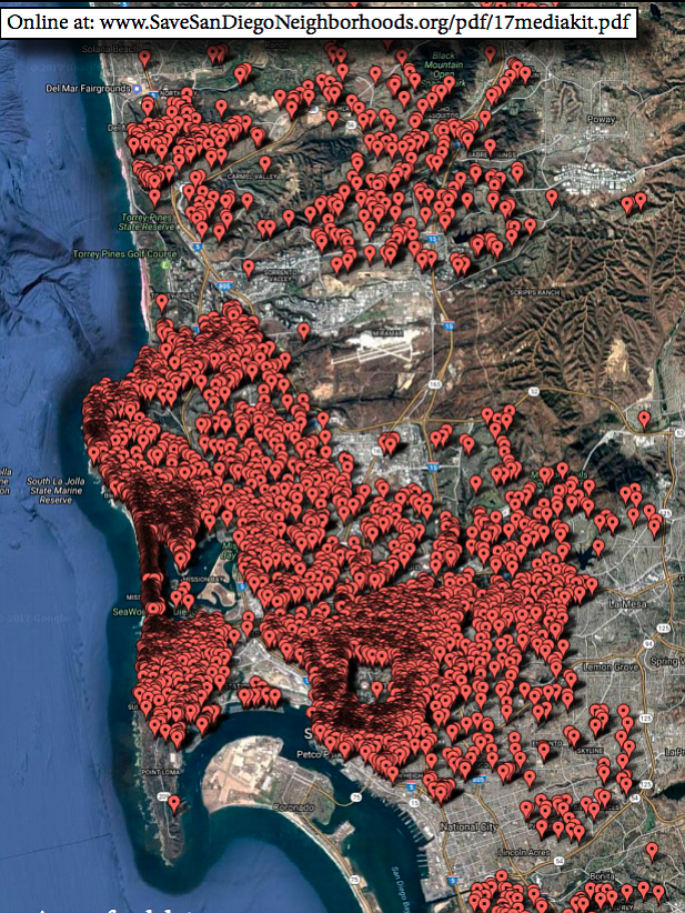 Locations of short-term rentals in San Diego