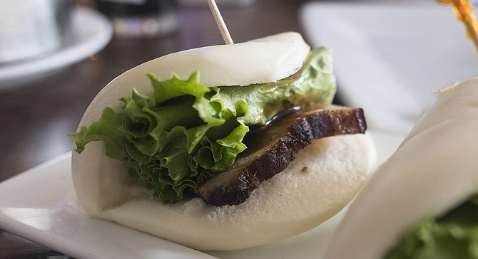 """Pork belly slider,"" a.k.a. pork belly bun"