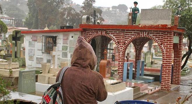 Amy approaching Juan Soldado's mausoleum