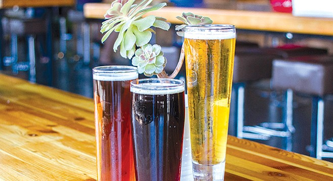 Bagby Beer Company's ALT in the Family Altbier, Upside Down Frown Brown, and Sweet Ride Bohemian Pilsner - Image by Matthew Suárez