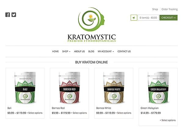 Kratomystic Premium Ethnobotanicals sold on the internet