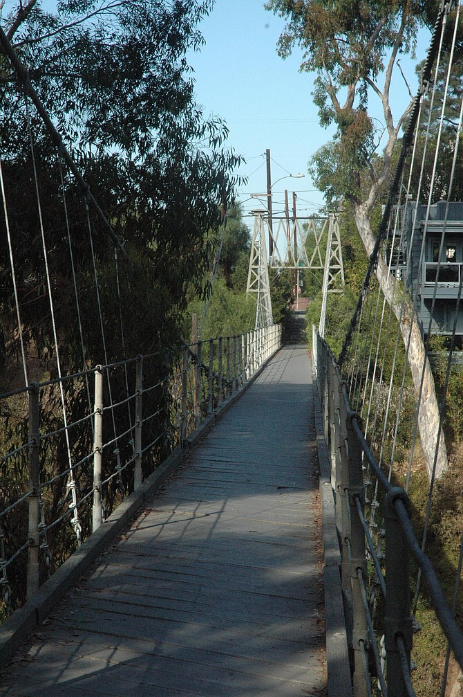"Spruce Street bridge — from the same era as the ""modern"" Requa homes."