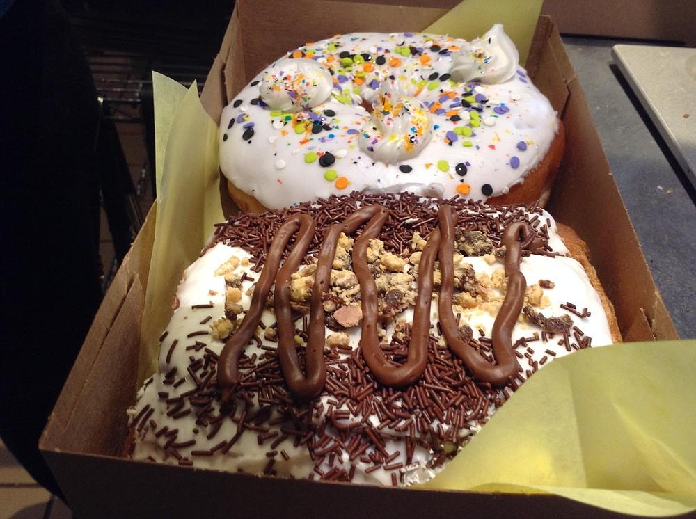 Navyman Anicete's Big Poppa's Tart (nearest camera) and Cake Batter donuts