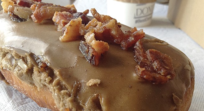 Bacon on top makes this an official breakfast donut.
