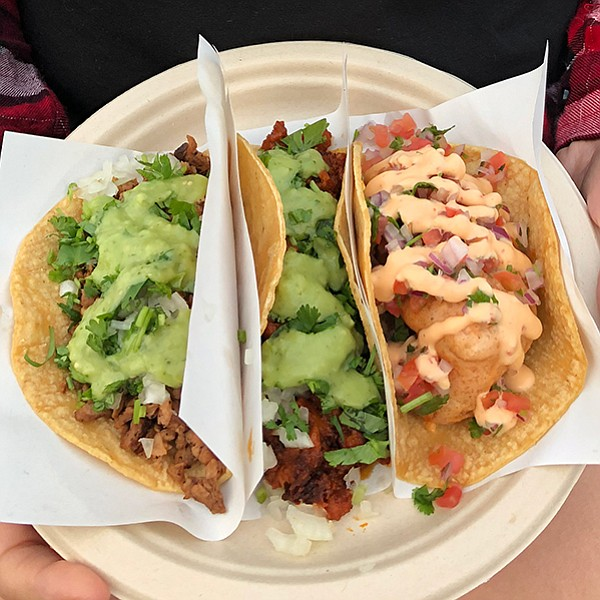 Sample vegan tacos in City Heights