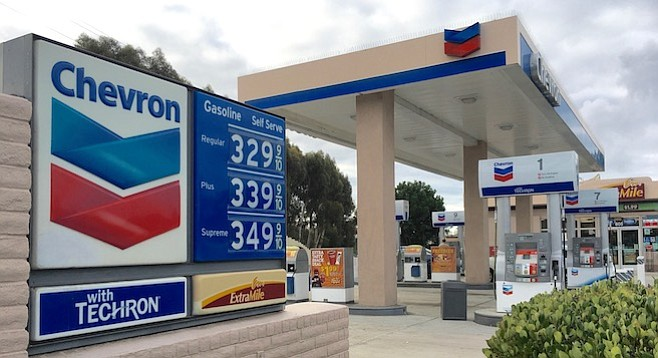 Gas at this Cardiff by the Sea station shot up 14 cents a gallon on November 1.