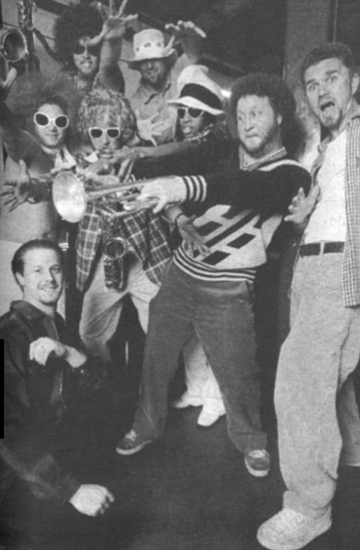 """f.a.t.b.s. and manager Doug Jones (bottom left) . """"People are so open down here; they just love our funk."""""""