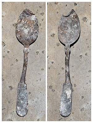 Workers found an old spoon while doing the demolition.