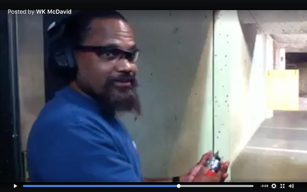 The prosecutor said McDavid lost his job at Iron Sights shooting range.