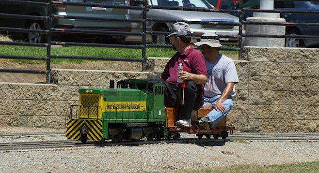 Volunteers check the track in Rohr Park
