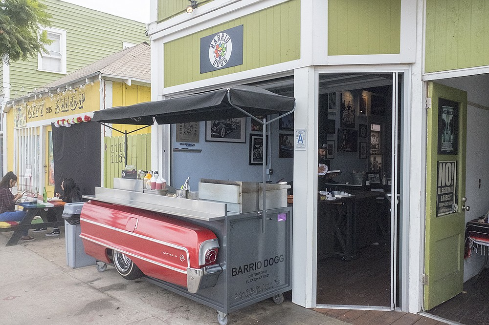 A lowrider styles hot dog cart