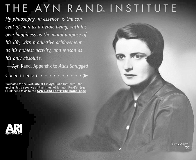 """Ayn Rand Institute site:.""""A is A. Facts are facts."""""""