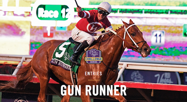 Gun Runner at the finishing line