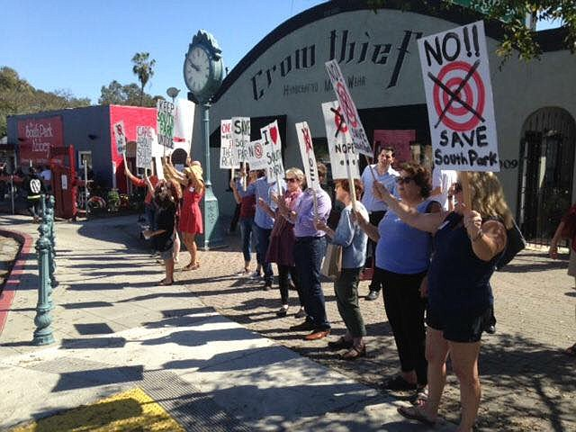 Protests in South Park before their Target Express opened in 2015