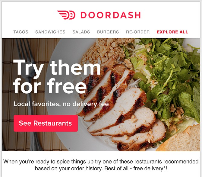The email campaign pledges free delivery