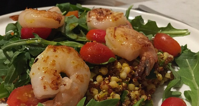 Debra was the happiest with her selection — Grilled Shrimp Quinoa Taboulé.