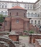 Modern Sheraton and Presidential Palace wrap around Rotunda of St George