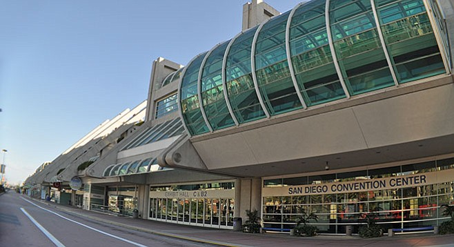 The convention center's doubling in size didn't result in any substantial increase of conventions.