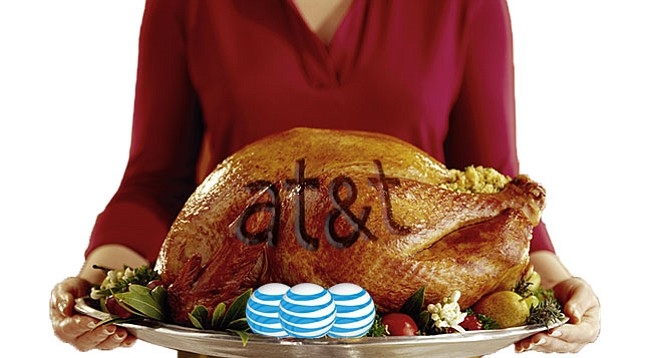 """Katherine Stuart does the shilling for her husband's turkey giveaway: """"I have to mention [AT&T] because they're our sponsor and they have been amazing to work with."""""""