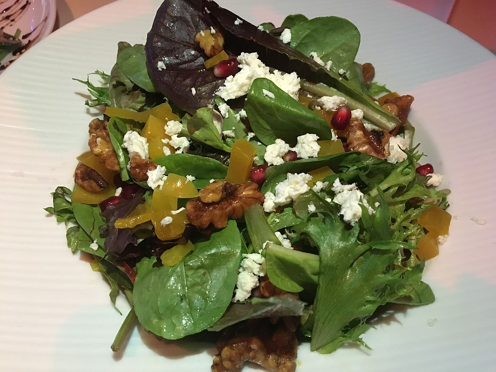 The Golden Beet and Pomegranate Salad is delicious, but the beets aren't allowed to be the star.