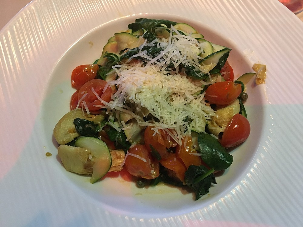 The Zucchini Florentine is like an Italian sauce dish with artichokes, cherry tomatoes, zucchini, spinach and parmesan.