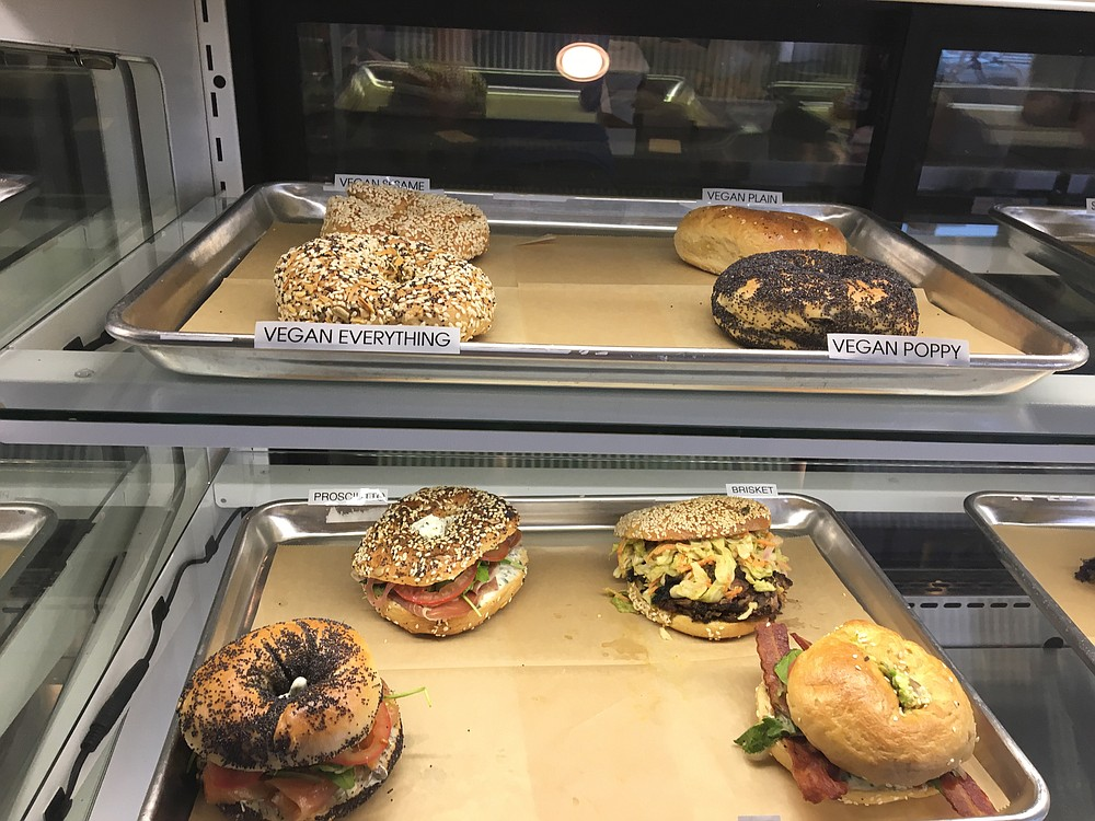 A few of the bagel options at Nomad Donuts in North Park.