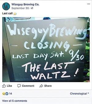 Facebook post announcing Wiseguy's closure
