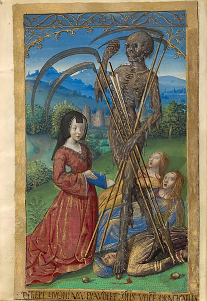 Book of Hours for Denise Poncher.  One blade curls around Denise's head like a dreadful lure.