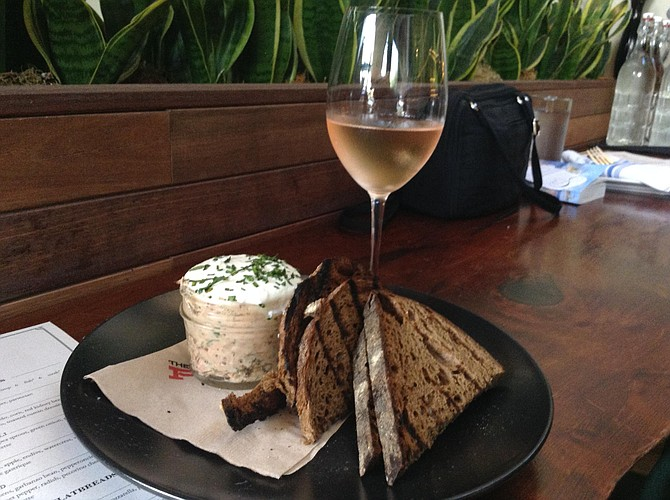 "Julie's salmon rillette comes with ""malted brown toast."""