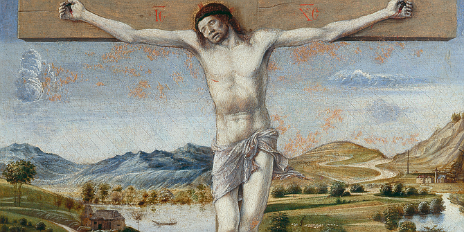 Crucifixion with the Virgin. Bellini's interest doesn't lie so much in sacred story as in the streaming of life behind the Passion event.