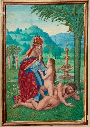 Eve's body rises from Adam's rib, one leg still half-sunken in his torso.