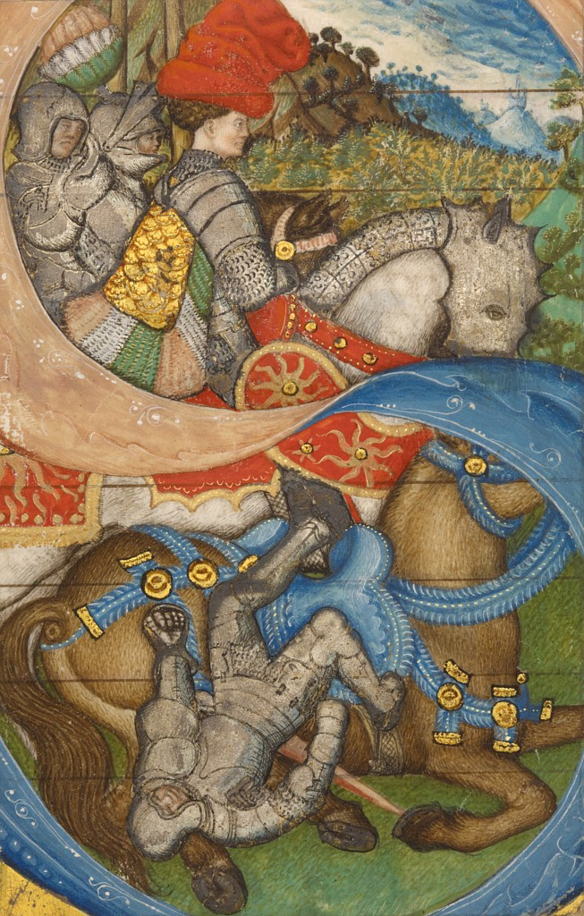 """Pisanello cutting of letter """"S."""" An armored Paul tumbles gracelessly, helplessly, from his horse."""