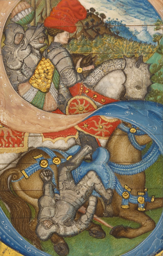 "Pisanello cutting of letter ""S."" An armored Paul tumbles gracelessly, helplessly, from his horse."
