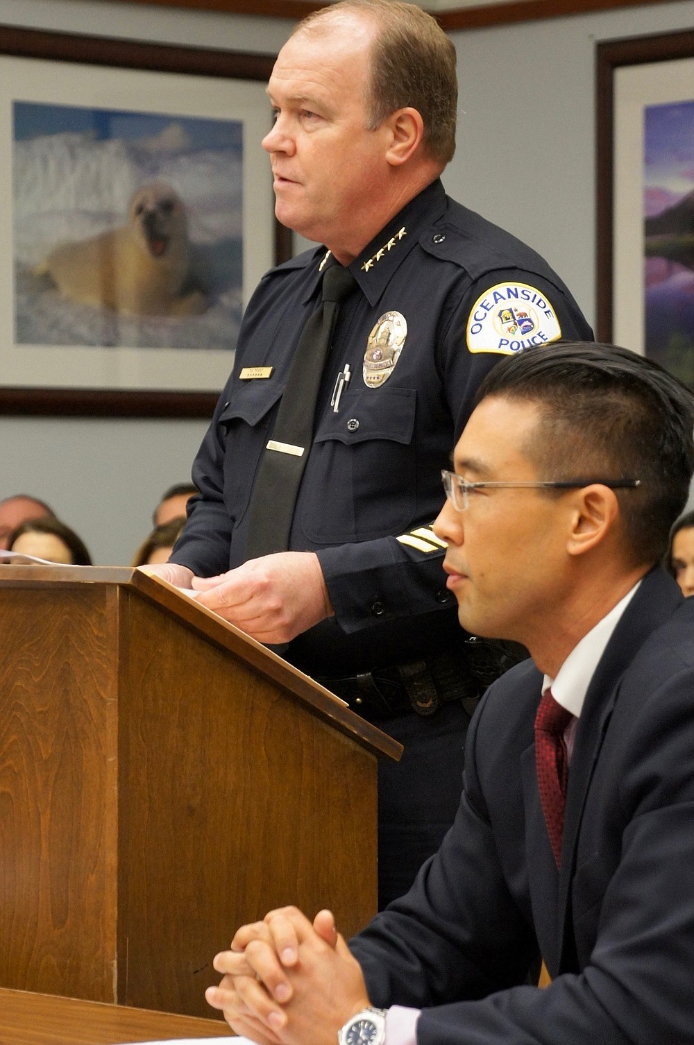 Oceanside police chief Frank McCoy and prosecutor Keith Watanabe