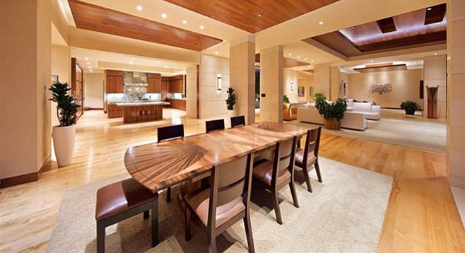 "The home features an extensive use of acacia koa wood ""imported from the Hawaiian islands"""