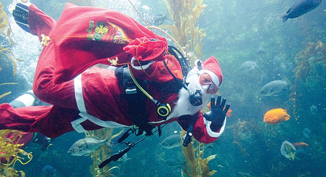 """Only elves will appear in the dive shows from December 26 to 30 — Scuba Santa needs some rest."""