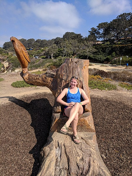 "The ""Sunset Seat"" was designed by Del Mar resident David Arnold and carved by Tim Richards in 2015."