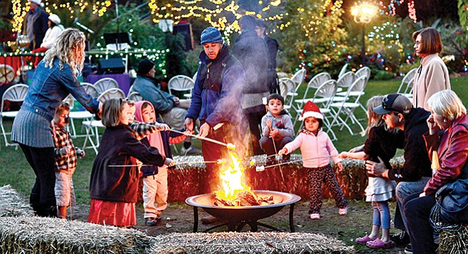 San Diego Botanic Garden offers marshmallow roasting, visits with Santa, mulled wine, and holiday crafts.