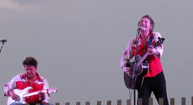Tommy Stinson (right) and Chip Roberts doing a Cowboys in the Campfire show in New Jersey last summer