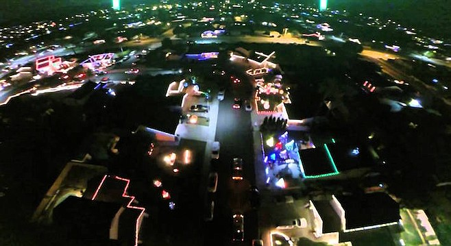 Starlight Circle, Santee — aerial shot of Christmas lights