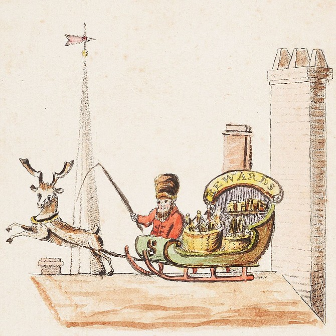 This illustration, from 1821, is the first known depiction of Santa Claus being pulled by a reindeer.