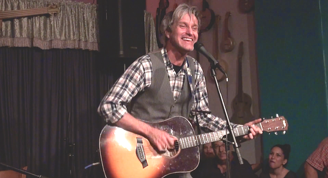 Steve Poltz on Java Joe's North Park stage, 2015
