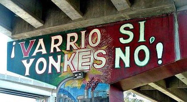 Mural under the Coronado bridge, a dumping ground during freeway and bridge construction days.