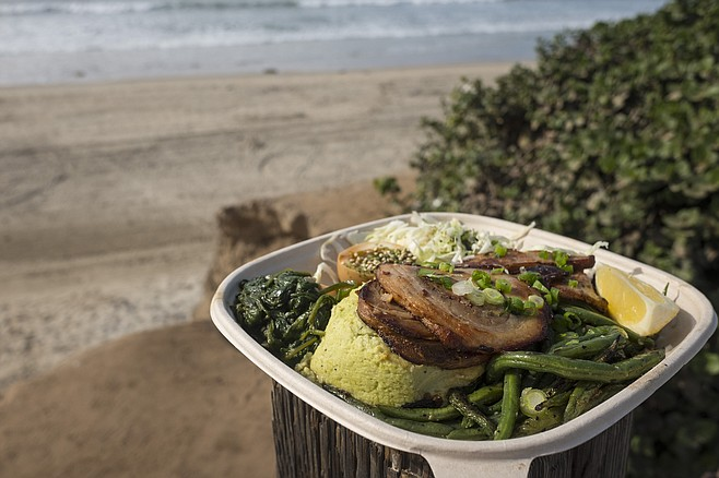 A deceptively simple bento lunch, taken by the beach